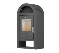 Стальной камин на дровах ACKERMAN Р5 7.5 кВт  квадратный (верх полукруг,дверка стекло) black