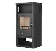 Стальной камин на дровах ACKERMAN W10 7.5 кВт  квадратный (верх прямой, дверка стекло) black