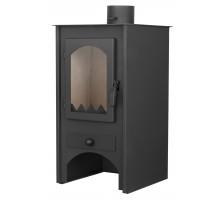 Стальной камин на дровах ACKERMAN W6 6 кВт квадратный (верх прямой, дверка стекло) black