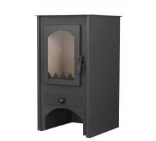 Стальной камин на дровах ACKERMAN W6F 6 кВт квадратный (верх прямой, дверка стекло) black