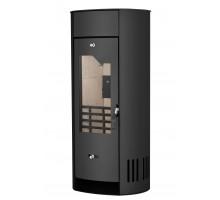 Стальной камин на дровах ACKERMAN W9 6 кВт овальный (верх прямой, дверка стекло) black