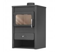 Стальной камин на дровах ACKERMAN Р1 10.9 кВт  квадратный (верх прямой, дверка стекло) black