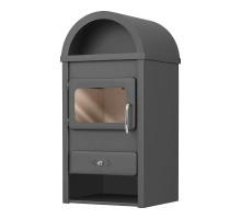 Стальной камин на дровах ACKERMAN Р1К 10.9 кВт квадратный (верх полукруг,дверка стекло) black